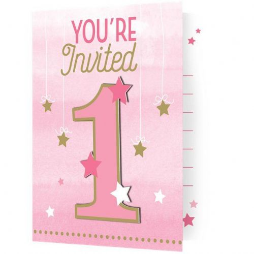 One Little Star Girl Party Invitations (8pk)
